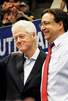 Pete Gallego at an appearance with President Bill Clinton at South San High School.