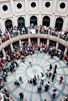 "Texans protest the ""bathroom bill"" last year outside a Senate committee hearing."