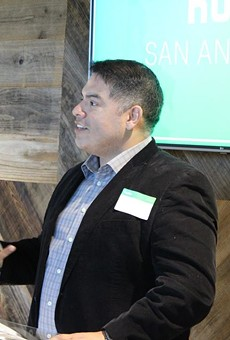 Councilman Manny Pelaez speaks during at event at Hulu's Viewer Experience Operations headquarters.