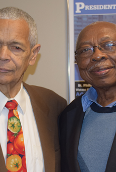 NAACP San Antonio President Oliver Hill (right), pictured with NAACP national Chairman Julian Bond, said his group is still looking for volunteers to help run the group's national convention.