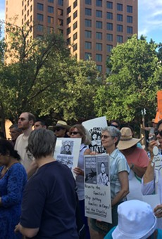Hundreds gathered in front of San Fernando Cathedral for the Vigil for Humanity to oppose the separating families seeking asylum.