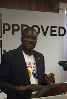 Chris Steele speaks at a press conference held this week to discuss the fire union's three proposed charter amendments.