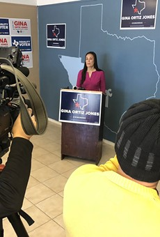 Gina Ortiz Jones speaking at Tuesday's press conference.