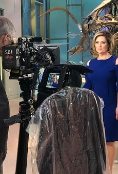 Deborah Knapp tapes her Jeopardy appearance at the Witte Museum.