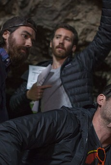 Co-director Ben Foster, first assistant director Kyle Shea and co-director Mark Dennis on the set of Time Trap.