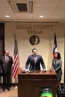 Former state Rep. Justin Rodriguez addresses county officials during his swearing in as Bexar County Commissioner.