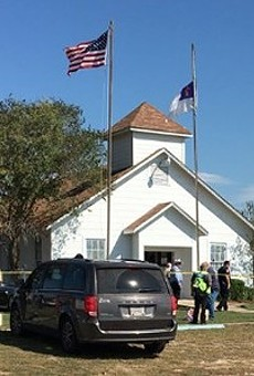 Police and emergency crews work the scene of the 2017 Sutherland Springs mass shooting.