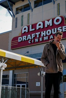 Posing in front of the North Park Alamo Drafthouse.