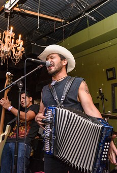 Piñata Protest throws down the accordion jams at a live performance.
