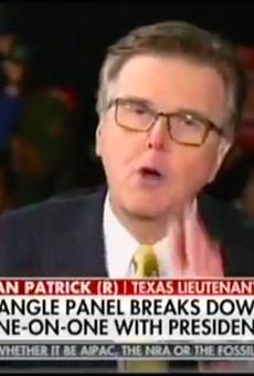 Lt. Gov. Dan Patrick wags a finger on Laura Ingraham's Fox News show.