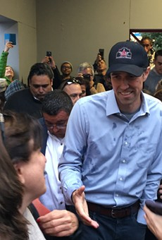 Beto O'Rourke presses the flesh during a 2018 campaign stop in San Antonio.
