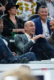 The Spurs' big three share a laugh before Manu Ginobili's jersey retirement ceremony.