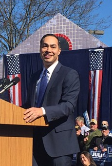 Julian Castro addresses supporters during his presidential campaign announcement in TK.