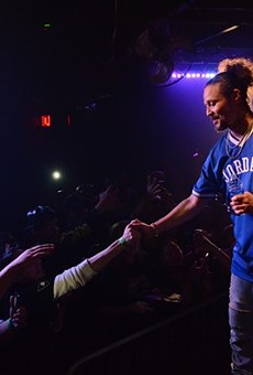 Bizzy Bone greeting fans at Fitzgerald's in 2018