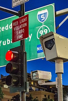 A new Texas law bans red light cameras such as this one.