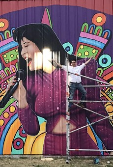One of SA's newest Selena murals is located on the Alamo Candy wall.