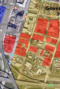 This map, which was created based on materials found at broadwayeastsa.com, shows the Broadway East development (in red) in relation to the Government Hill neighborhood, which is east of the Pearl.