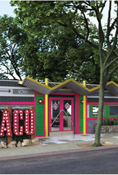 This rendering filed with the City of San Antonio shows Velvet Taco's proposed redesign of the building that once housed storied venue Taco Land.