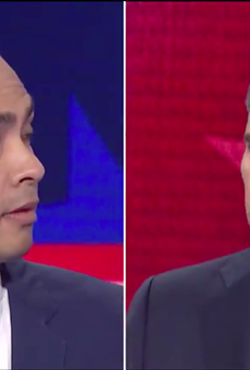 Julian Castro and Beto O'Rourke share a split-screen moment during Wednesday's Democratic debate.