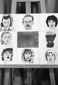 Artist Angela Farrias puts a Brady Bunch spin on the cast of characters from 'Stranger Things' in this piece that will be for sale at Brick.