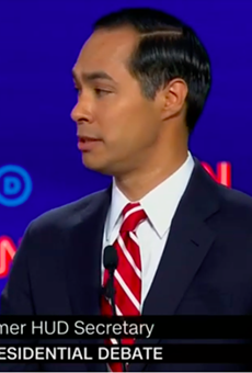 Julián Castro makes a point during the second Democratic presidential debate.
