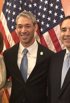 U.S. Rep. Henry Cuellar (right) poses with House Speaker Nancy Pelosi (left) and San Antonio Mayor Ron Nirenberg (center). Nirenberg was Cuellar's guest for the State of the Union address. Cuellar struck a cautionary about supporting impeachment.