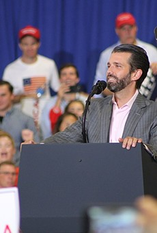 Donald Trump Jr. addresses the crowd at a recent rally.