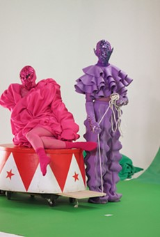 """Sasha (left) and Johnny Velour filming the video accompaniment for """"Keep Young and Beautiful"""""""