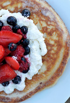 Here's a look at the Tres Leches pancakes from Chisme, which Midnight Swim replaced.