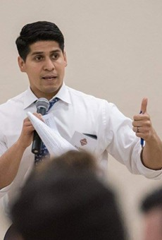 Rey Saldaña speaks to constituents during a 2019 town hall.