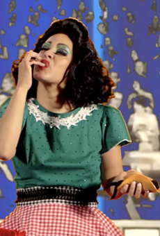 "Screen grab from Xandra Ibarra's 2004 video ""Tortillera."""