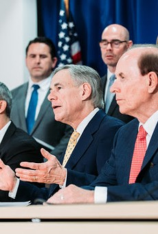 Texas Gov. Greg Abbott appears Monday at a press conference with San Antonio Mayor Ron Nirenberg and Bexar County Judge Nelson Wolff to discuss COVID-19 testing.