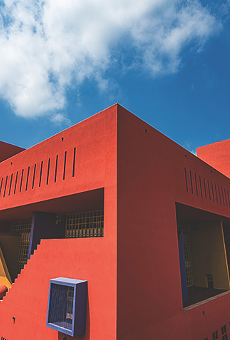 An image of the colorful exterior of SAPL's Central Library, which remains closed to the public until further notice.