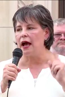 At Rally, Bexar County Republican Chair Cynthia Brehm Claims Coronavirus Is a Democratic Hoax