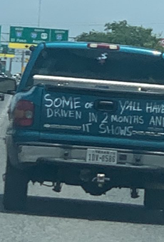 Truck Calling Out San Antonians' Lockdown-Induced Bad Driving Spotted on the South Side (2)