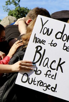 Protesters gather together at a San Antonio Black Lives Matter protest this spring.