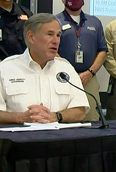Gov. Greg Abbott speaks at a Wednesday press conference about Hurricane Laura.