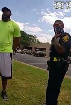 Body cam footage shows officers detaining jogger Mathias Ometu last week.