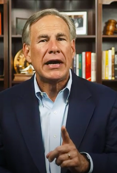 Texas Gov. Greg Abbott wags a finger in a YouTube video