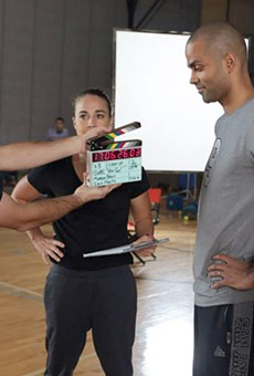 SA production company GeoMedia shoots an SWBC commercial with Spurs guard Tony Parker and assistant coach Becky Hammon.