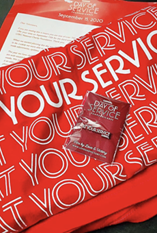 Bar pros who signed up to volunteer their time to Campari's annual National Day of Service received a t-shirt and commemorative pin.