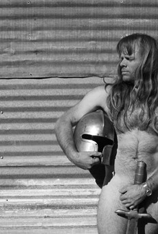 Drummer Thor Harris lives in a compound in Austin. He rarely puts a shirt on.