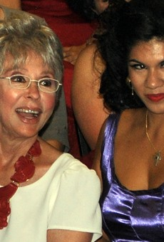 Rita Moreno (left) with actress Alyssa Lopez, who plays Moreno's character Anita at Woodlawn's showing of West Side Story.