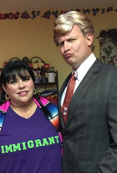 Celeste Tidwell (left) and her husband Dave played  up their political differences in this Halloween photo.
