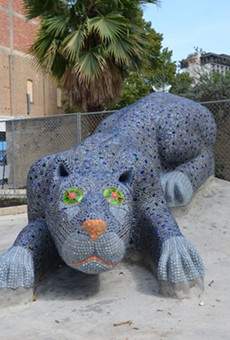 Check out this blue panther sculpture, as well as food, music, and other artwork, this weekend at Yanaguana Gardens.
