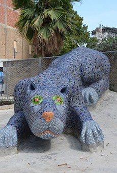 Yanaguana, a Payaya Indian Village on the San Antonio River, was created after a blue panther chased a water bird out of a blue hole creating life. This mosaic sculpture represents that story at the Hemisfair Park Yanaguana Garden.