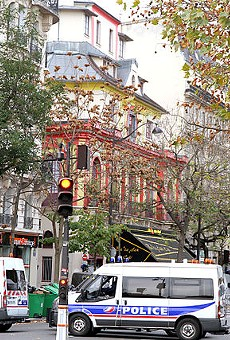 The Bataclan Theatre, a day after a terrorists killed more than 80 people in Paris, France.