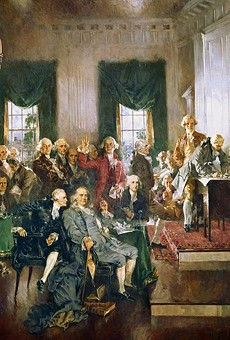 George Washington presides over the historic Constitutional Convention that took place from May 25 to September 17, 1787, in Philadelphia.