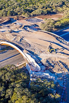 A photo of ongoing construction on the land bridge taken in November 2020. The bridge opens to the public on December 11.