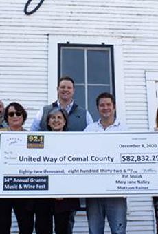 Sponsorship representatives present a check to United Way of Comal County.